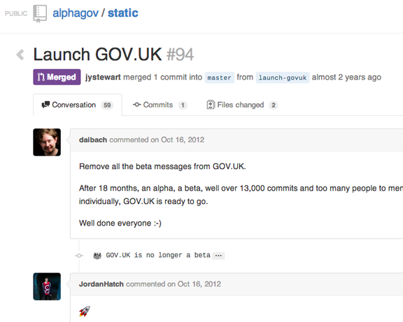 Pull request launching gov.uk